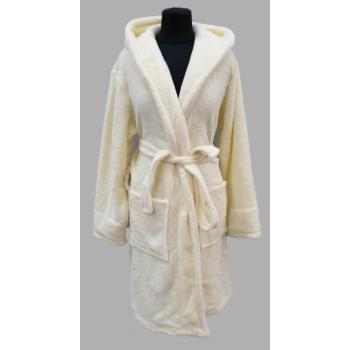 Подростковый халат с капюшоном велсофт кремовый, Турция