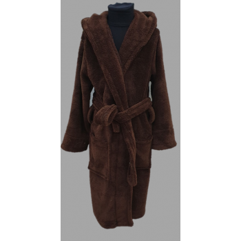 Подростковый халат с капюшоном на 13-14 лет шоколадный