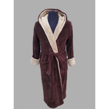 Халат махровый Wellsoft коричневый мужской с капюшоном