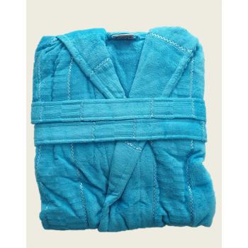 Халат женский махра/велюр короткий с капюшоном бирюзовый
