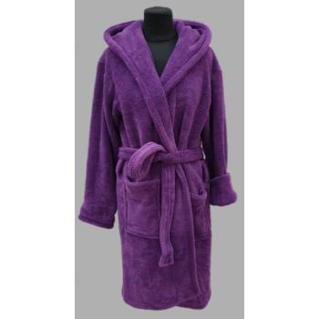Халат махровый женский короткий Wellsoft фиолетовый