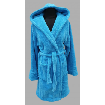 Халат махровый женский короткий Wellsoft голубой