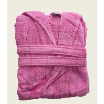 Халат женский махра/велюр длинный с капюшоном розовый