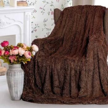 Плед-покрывало с длинным ворсом Chocolate 15647 от Koloco в интернет-магазине PannaTeks