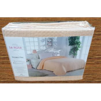 Вафельное покрывало на диван пике двуспальное Amira, Турция, La Rita