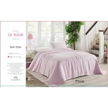 Турецкое покрывало на диван хлопок-бамбук Soft Pike розовое однотонное