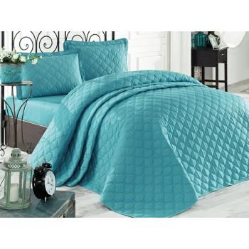 Стеганое покрывало на кровать с наволочками, Евро 240х260 Rabel V6 бирюзовое, Турция
