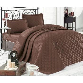 Стеганое покрывало на кровать с наволочками Евро 240х260 Rabel V8 коричневое Турция