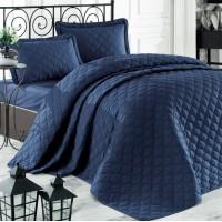 Стеганое покрывало на кровать с наволочками, Евро 240х260 RABEL V9 синее, Турция