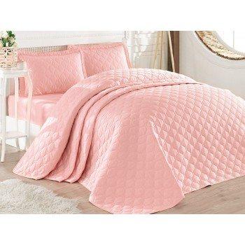 Стеганое покрывало на кровать с наволочками, Евро 240х260 Rabel V4, розовое, Турция