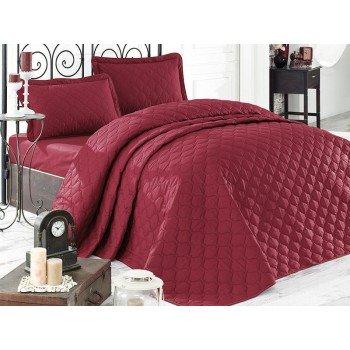 Стеганое покрывало на кровать с наволочками, Евро 240х260 Rabel V2 красное, Турция