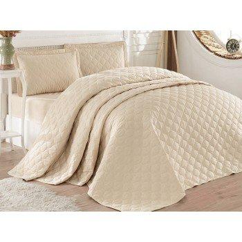Стеганое покрывало на кровать с наволочками, Евро 240х260 Rabel V3 бежевое, Турция