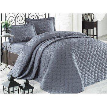 Стеганое покрывало на кровать с наволочками, Евро 240х260 Rabel V1 серое, Турция