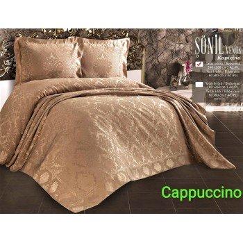 Турецкое покрывало на кровать жаккардовое 240х260 Venus Capicino Евро, Zeron