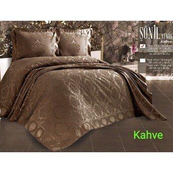 Турецкое покрывало на кровать жаккардовое 240х260 Venus Kahve Евро, Zeron