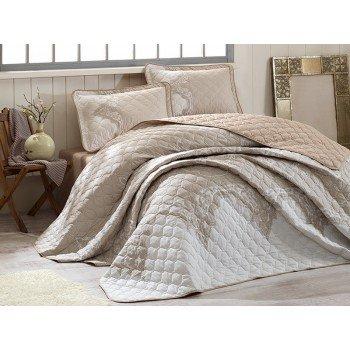 Стеганое покрывало на кровать с наволочками, Евро 240х260 Mikanos V2 бежевое, Турция