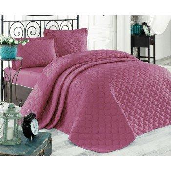 Стеганое покрывало на кровать с наволочками, Евро 240х260 Rabel V7 сиреневое, Турция