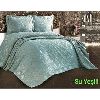 Турецкое покрывало на кровать жаккардовое 240х260 с наволочками Su Yesili Евро