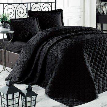 Стеганое покрывало на кровать с наволочками Евро 240х260 Rabel V10 черное Турция