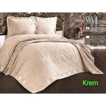 Турецкое покрывало на кровать жаккардовое 240х260 Venus Krem Евро, Zeron