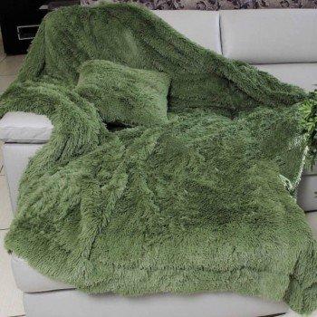 Плед травка с длинным ворсом 220х240 Оливковый 15646 от Koloco в интернет-магазине PannaTeks