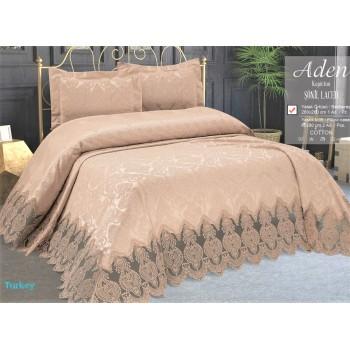 Турецкое покрывало на кровать жаккардовое 240х260 Sonil Laced Cappucino Евро, Zeron