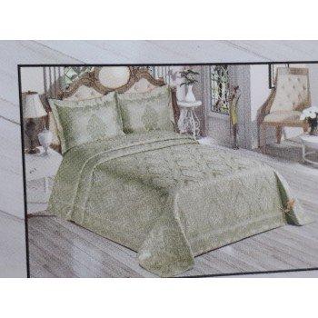 Турецкое покрывало на кровать жаккардовое 240х260 с наволочками Venus Olive Евро