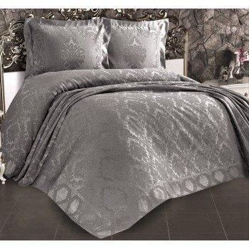 Турецкое покрывало на кровать жаккардовое 240х260 Venus Gri Евро, Zeron