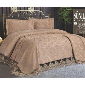 Турецкое покрывало на кровать жаккардовое 240х260 с наволочками Sonil Cappuccino Евро