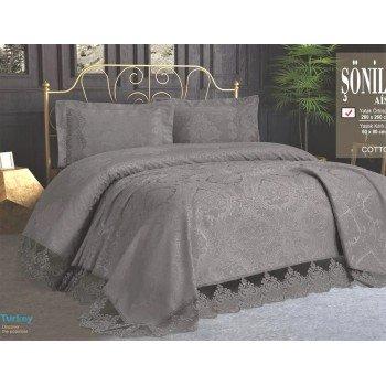 Турецкое покрывало на кровать жаккардовое 240х260 с наволочками Sonil Gri Евро