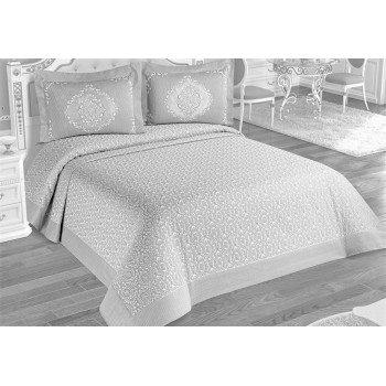 Жаккардовое покрывало на кровать Alara 240x260 с наволочками Antik Gri, Турция