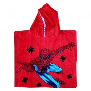 """Детское полотенце пончо 60x120 красное """"Человек Паук"""""""
