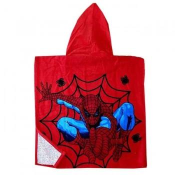 Детское пляжное полотенце пончо 60x120 красное Человек Паук фото 1