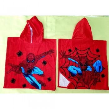 Детское пляжное полотенце пончо 60x120 красное Человек Паук фото 2