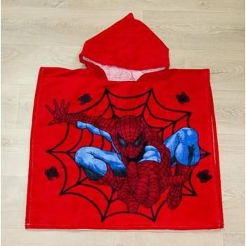 Детское пляжное полотенце пончо 60x120 красное Человек Паук фото 3