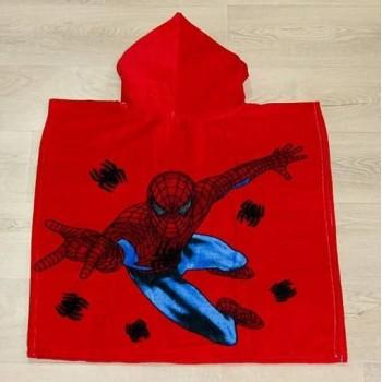 Детское пляжное полотенце пончо 60x120 красное Человек Паук фото 4