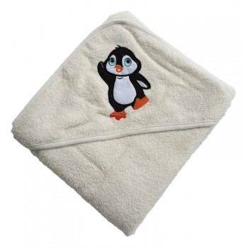 Полотенце для новорожденного с уголком Пингвин