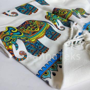 Полотенце пештемаль для пляжа Слоны Турция