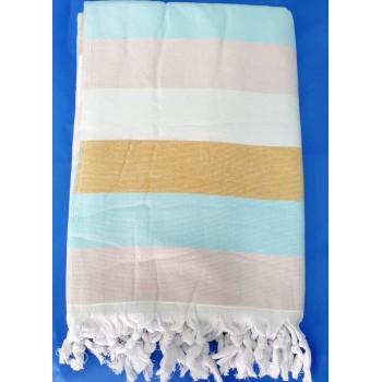 Полотенце пештемаль для хамама и пляжа махровое Кариба