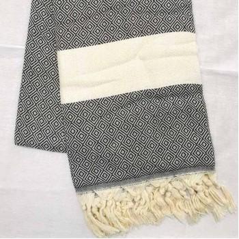 Полотенце пештемаль для хамама и пляжа Серый Ромбик