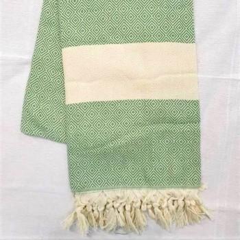 Полотенце пештемаль для хамама и пляжа Зеленый Ромб