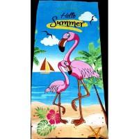 Пляжное полотенце Фламинго на море