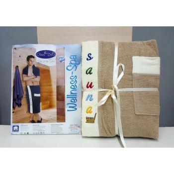 Мужской набор для сауны махровый бежевый Турция фото 1