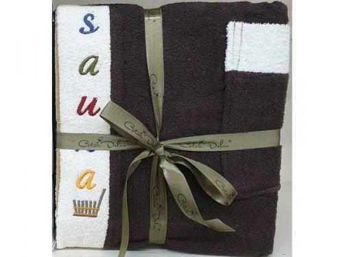 Мужской набор для сауны махровый коричневый Турция 16102 от Zeron в интернет-магазине PannaTeks