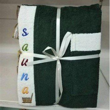 Мужской набор для сауны махровый зеленый Турция