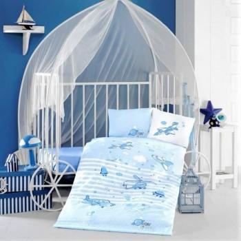Турецкое детское постельное белье в кроватку Super Wings ранфорс Aran Сlasy