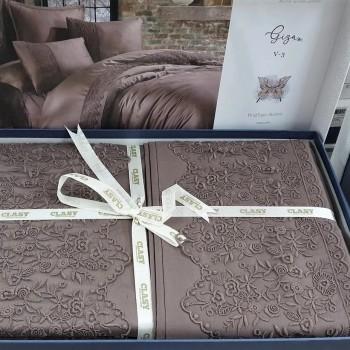 Постельное белье евро сатин с кружевом GIZA V3 шоколад ARAN CLASY Турция фото 1