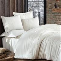 Однотонное постельное белье сатин с кружевом GIZA V1 ARAN CLASY Турция
