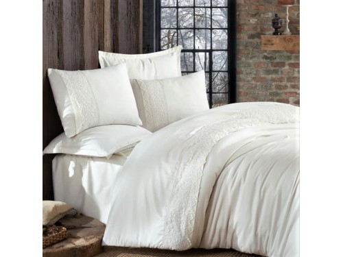 Однотонное постельное белье сатин с кружевом GIZA V1 ARAN CLASY Турция 16097 от Aran Сlasy в интернет-магазине PannaTeks