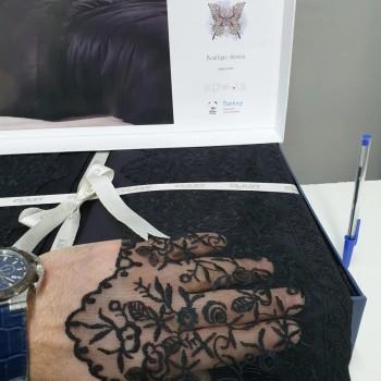 Черное постельное белье сатин с кружевом GIZA V2 ARAN CLASY Турция фото 1